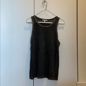 Maje dark grey linen top with crystals (size 3)